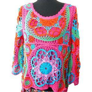 NWT Belle France Crochet Hi Low Woven Blouse Med